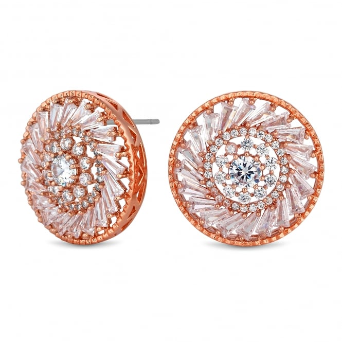 Rose Gold Plated Cubic Zirconia Disc Stud Earring