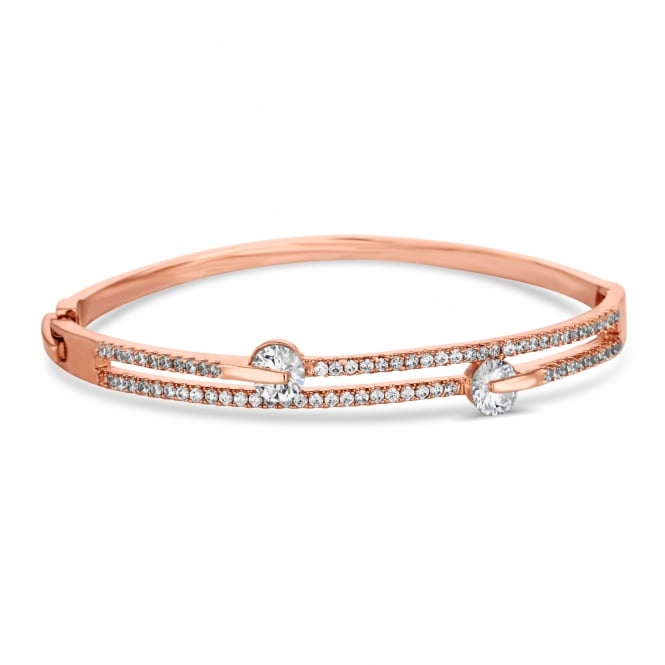 Rose Gold Plated Cubic Zirconia Double Row Bracelet