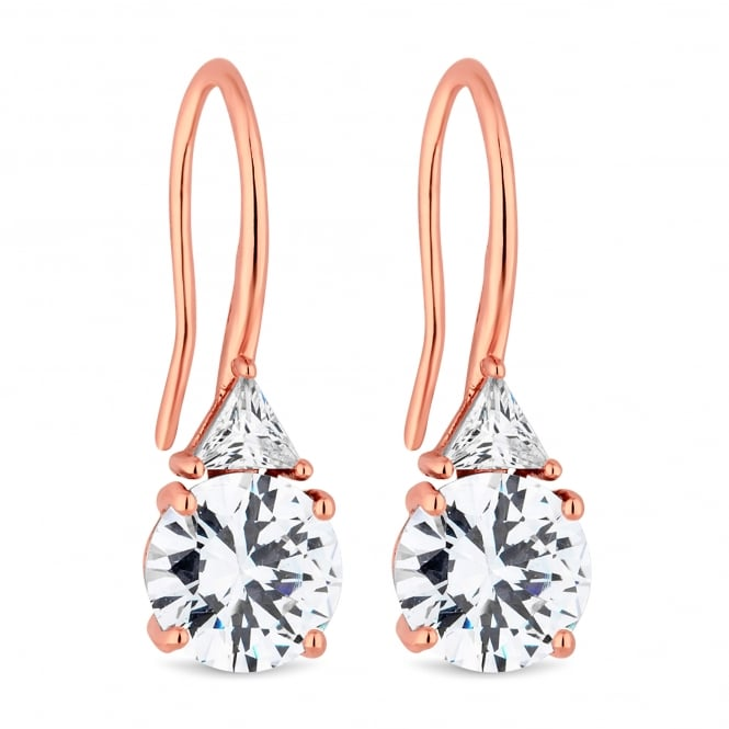 Rose Gold Plated Cubic Zirconia Drop Hook Earring