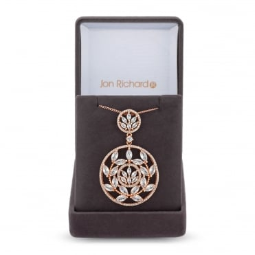 Rose Gold Plated Cubic Zirconia Filigree Circle Necklace In A Gift Box
