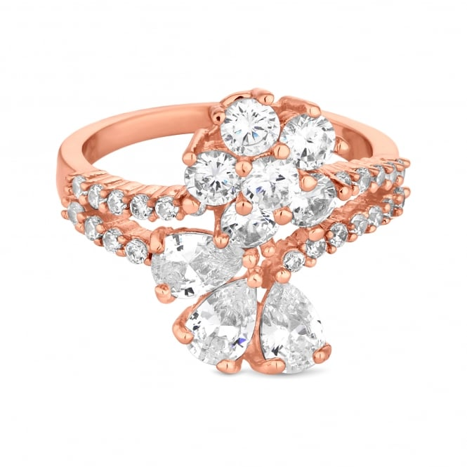 Jon Richard Rose Gold Plated Cubic Zirconia Flower And Leaf Ring