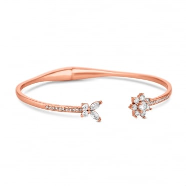 Rose Gold Plated Cubic Zirconia Flower Cuff Bangle