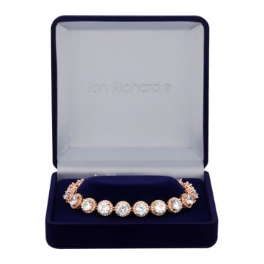 Rose Gold Plated Cubic Zirconia Graduated Halo Bracelet