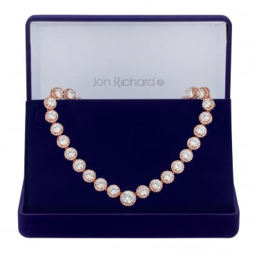 Rose Gold Plated Cubic Zirconia Graduated Halo Necklace In A Gift Box