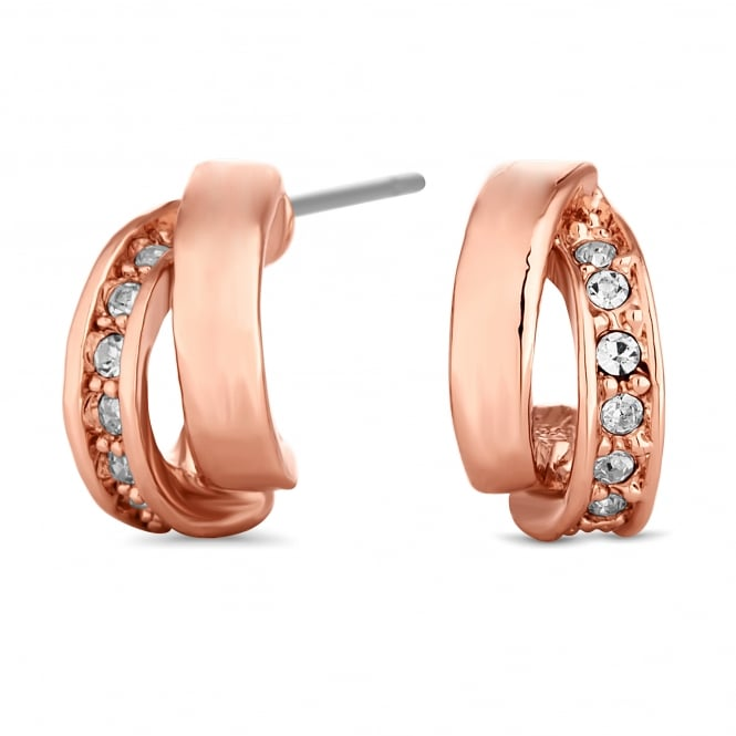 Rose Gold Plated Cubic Zirconia Half Hoop Earring