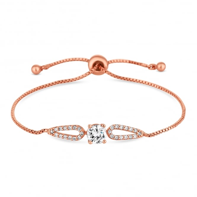 Rose Gold Plated Cubic Zirconia Halo Toggle Bracelet