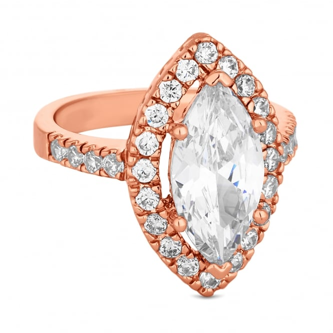 Rose Gold Plated Cubic Zirconia Navette Halo Ring