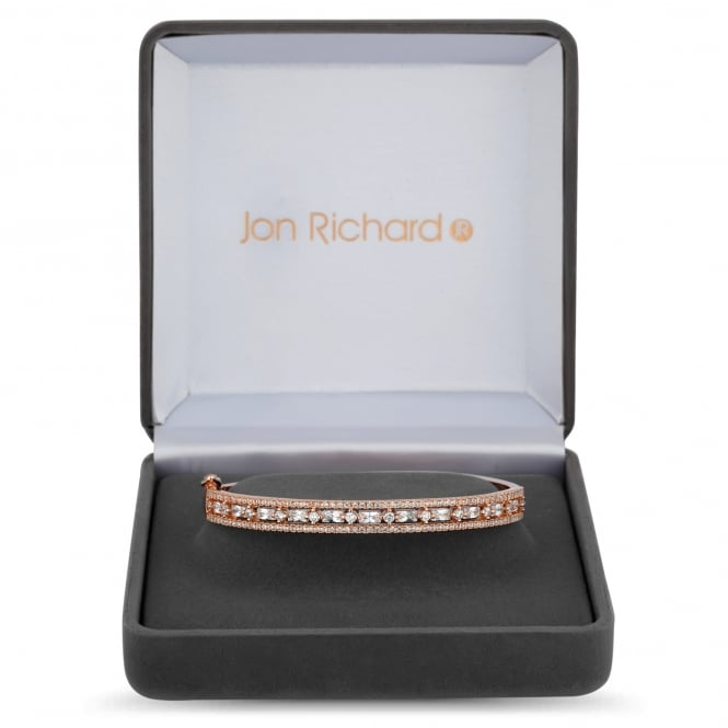 Jon Richard Rose Gold Plated Cubic Zirconia Pave Bangle In A Gift Box