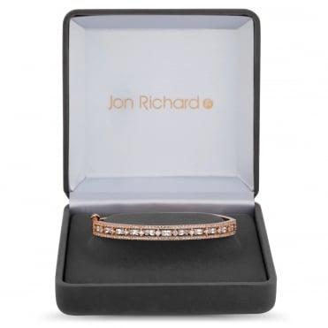 Rose Gold Plated Cubic Zirconia Pave Bangle In A Gift Box