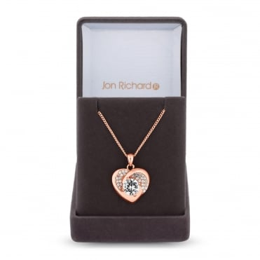 Rose Gold Plated Cubic Zirconia Pave Heart Necklace In A Gift Box