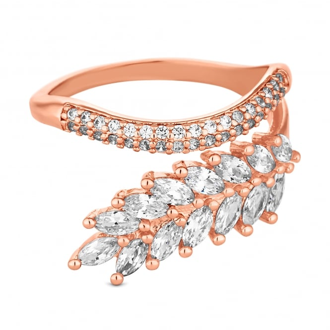 Rose Gold Plated Cubic Zirconia Pave Leaf And Vine Wrap Ring