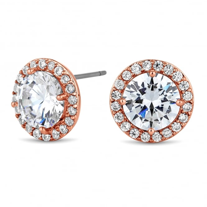 Rose Gold Plated Cubic Zirconia Pave Stud Earring