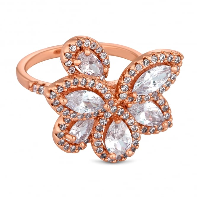 Rose Gold Plated Cubic Zirconia Petal Cluster Ring
