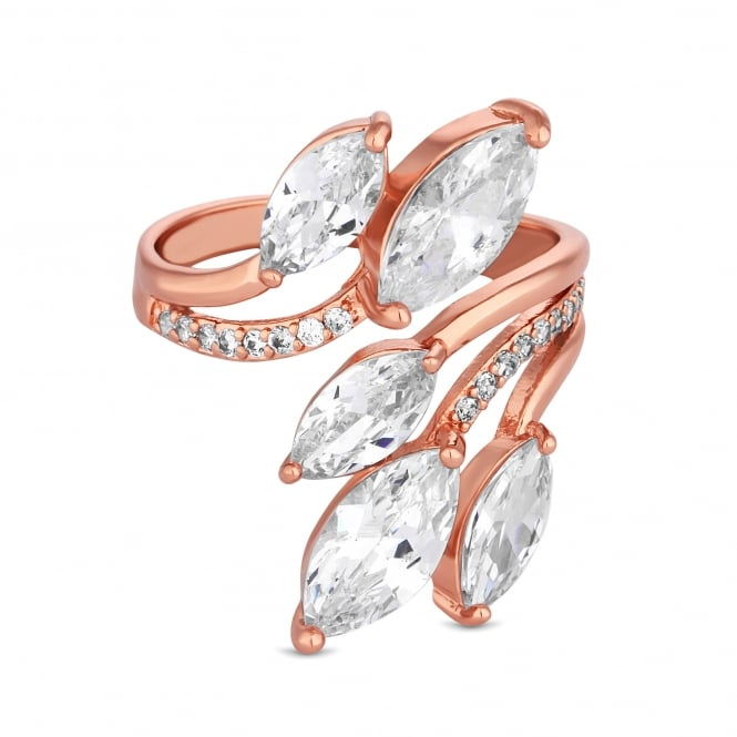 Rose Gold Plated Cubic Zirconia Petal Wrap Ring