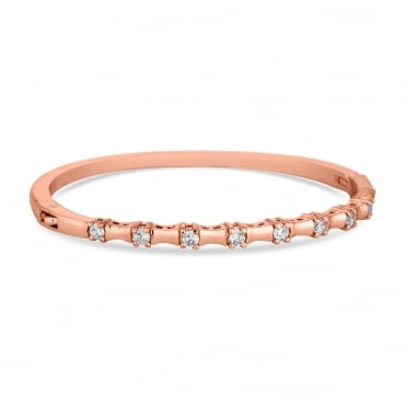 Rose Gold Plated Cubic Zirconia Square Row Bangle