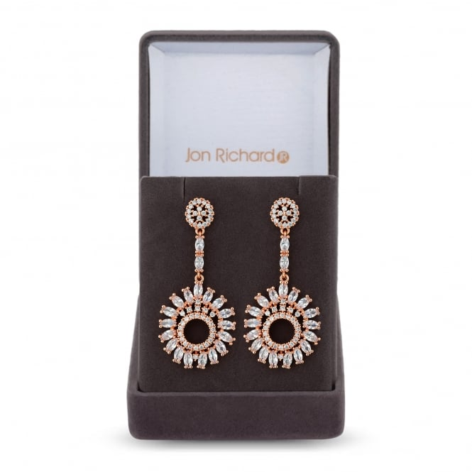 Jon Richard Rose Gold Plated Cubic Zirconia Sunflower Drop Earring In A Gift Box