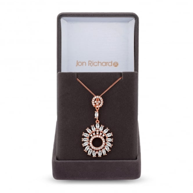 Rose Gold Plated Cubic Zirconia Sunflower Necklace In A Gift Box