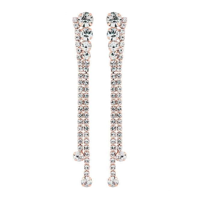 Jon Richard Rose Gold Plated Diamante Drop Earring