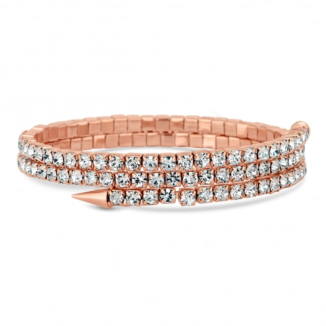 Rose Gold Plated Diamante Point Coil Stretch Bracelet