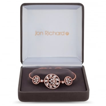 Rose Gold Plated Filigree Circle Toggle Bracelet In A Gift Box