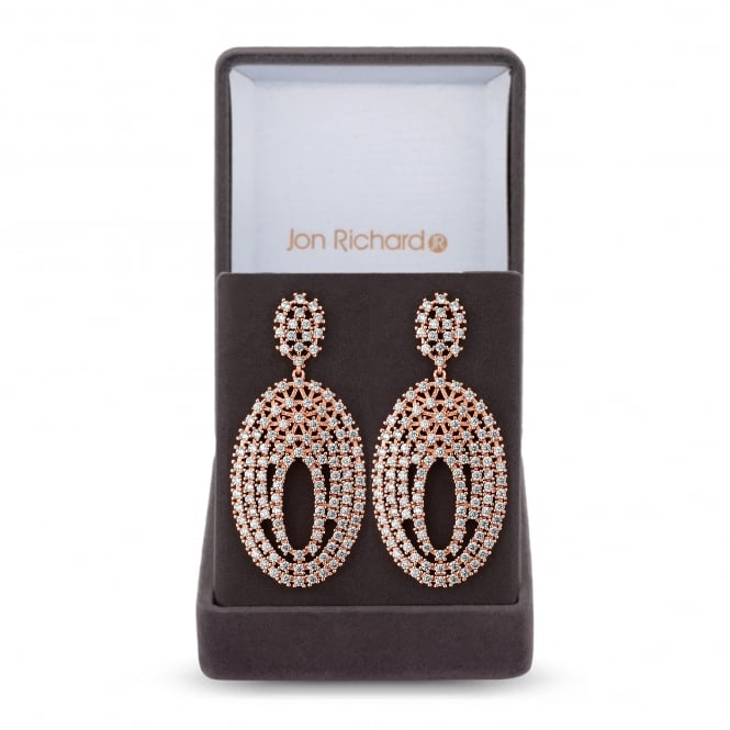 Rose Gold Plated Filigree Oval Statement Earring In A Gift Box