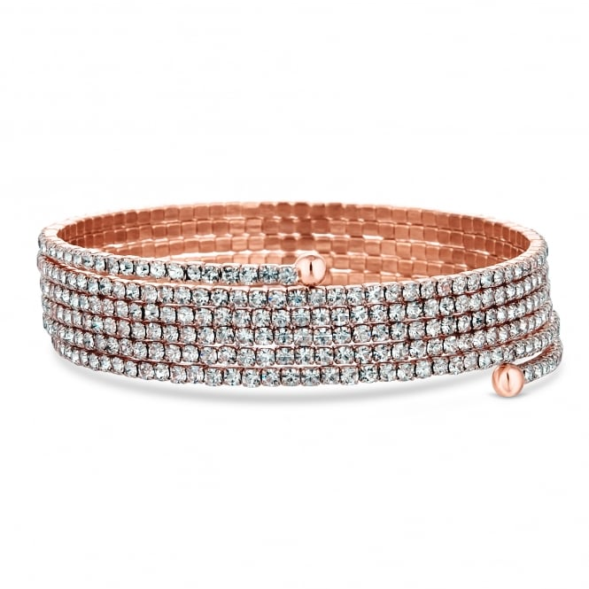 Rose Gold Plated Fine Diamante Coil Stretch Bracelet