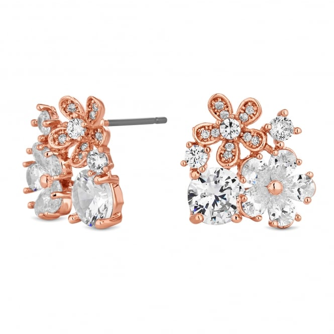 Rose Gold Plated Floral Cluster Stud Earring
