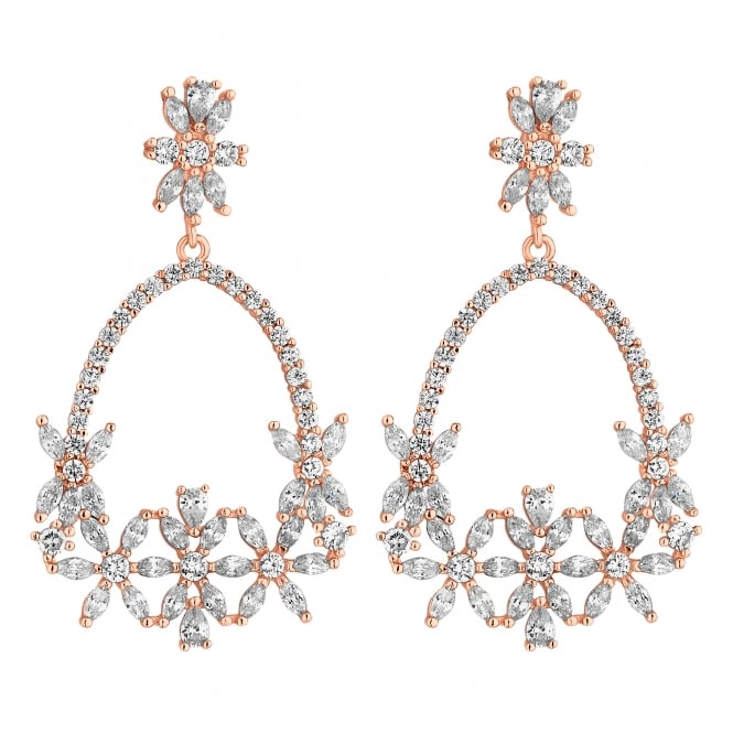 Rose Gold Plated Floral Open Pear Drop Earring