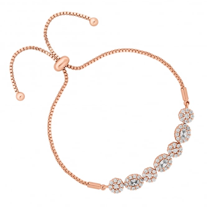 Rose Gold Plated Floral Toggle Bracelet