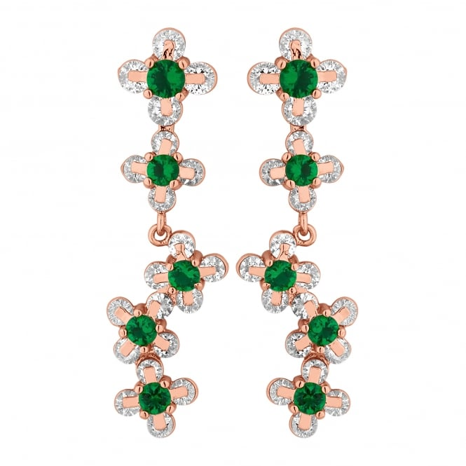 Rose Gold Plated Green Cubic Zirconia Floral Drop Earring