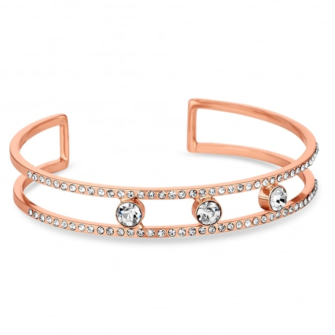 Jon Richard Rose Gold Plated Open Crystal Cuff Bangle