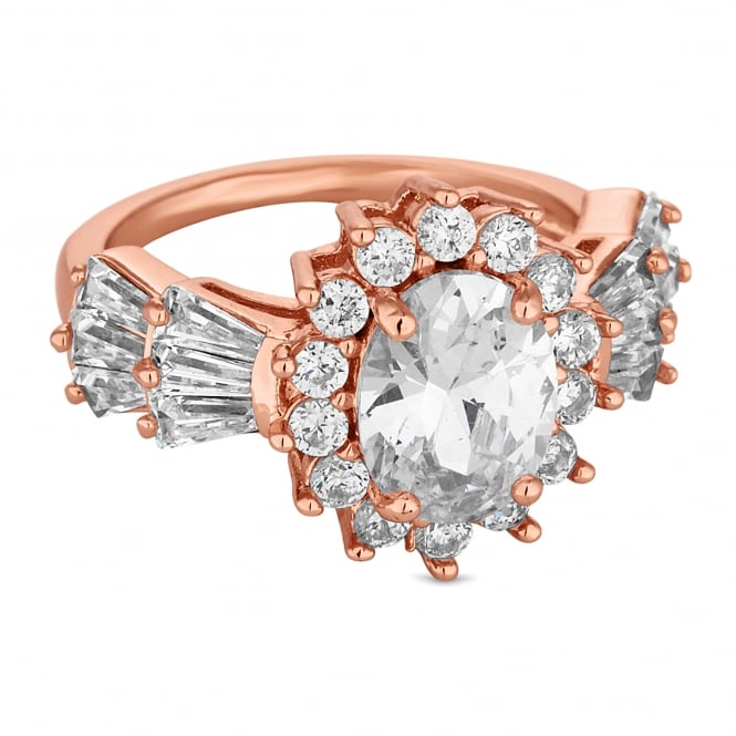 Jon Richard Rose Gold Plated Oval Crystal Cluster Ring