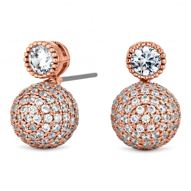 Rose Gold Plated Pave Ball Drop Earring