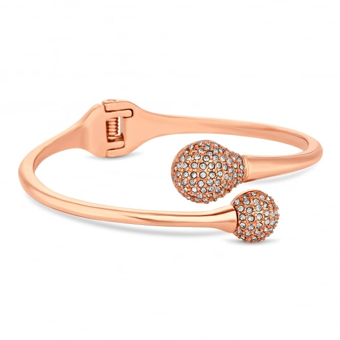 Rose Gold Plated Pave Ball Twist Bangle