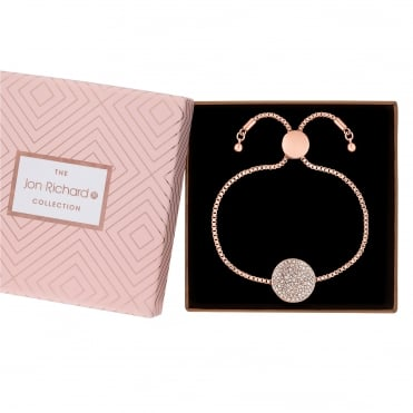 Rose Gold Plated Pave Disc Toggle Bracelet In A Gift Box