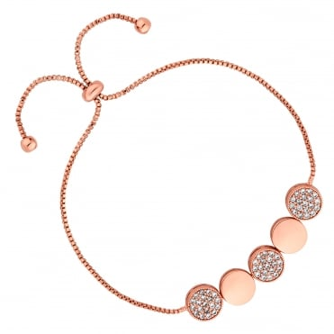 Rose Gold Plated Pave Disc Toggle Bracelet