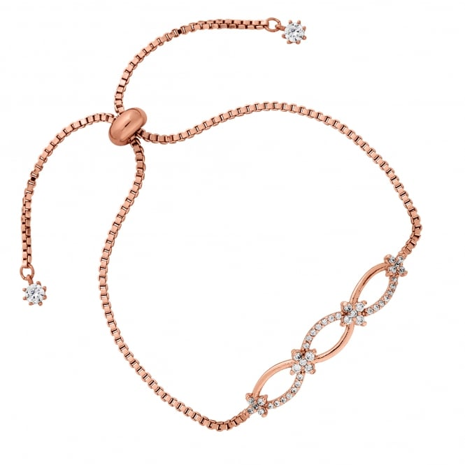 Rose Gold Plated Pave Eternity Link Toggle Bracelet