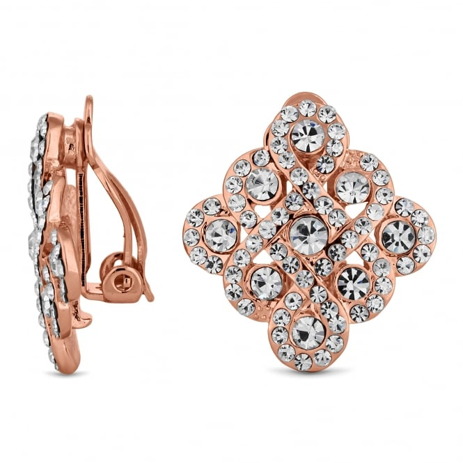 Rose Gold Plated Pave Filigree Square Stud Clip On Earring