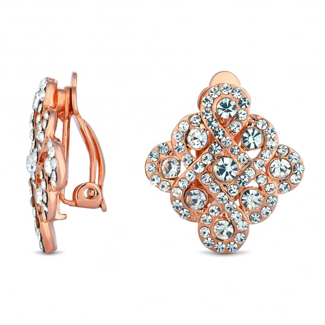 Rose Gold Plated Pave Filigree Square Stud Earring