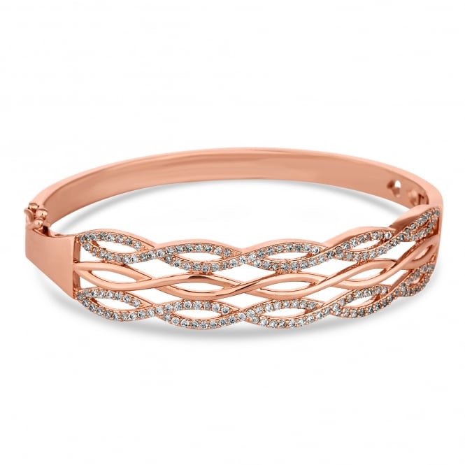 Rose Gold Plated Pave Infinity Bangle