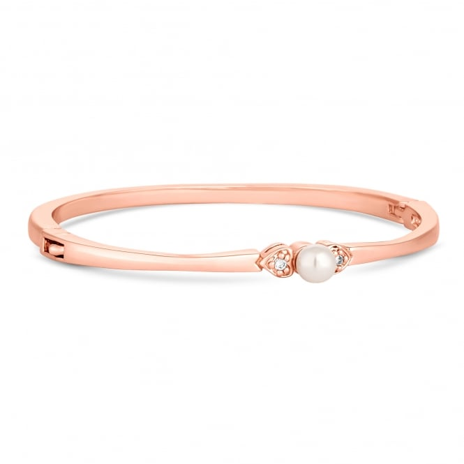 Rose Gold Plated Pearl And Crystal Bangle
