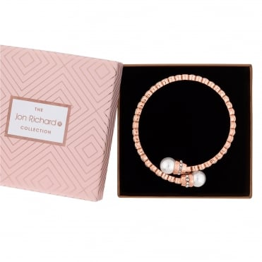 Rose Gold Plated Pearl And Crystal Coil Stretch Bracelet In A Gift Box