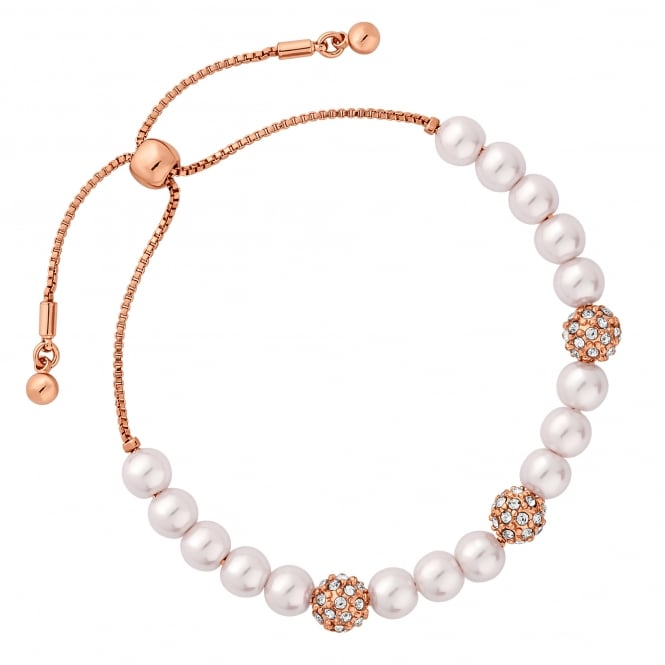 Rose Gold Plated Pearl And Pave Ball Toggle Bracelet