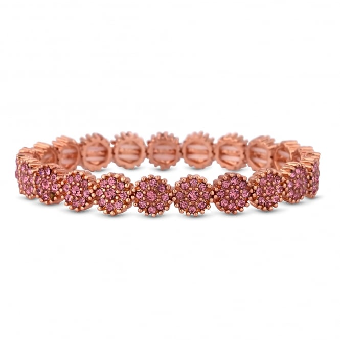 Rose Gold Plated Pink Crystal Floral Stretch Bracelet