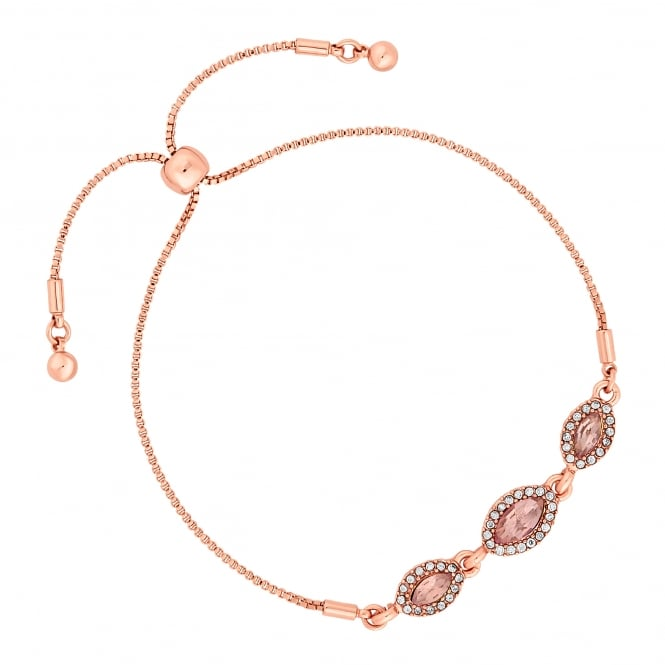 Jon Richard Rose Gold Plated Pink Crystal Navette Toggle Bracelet