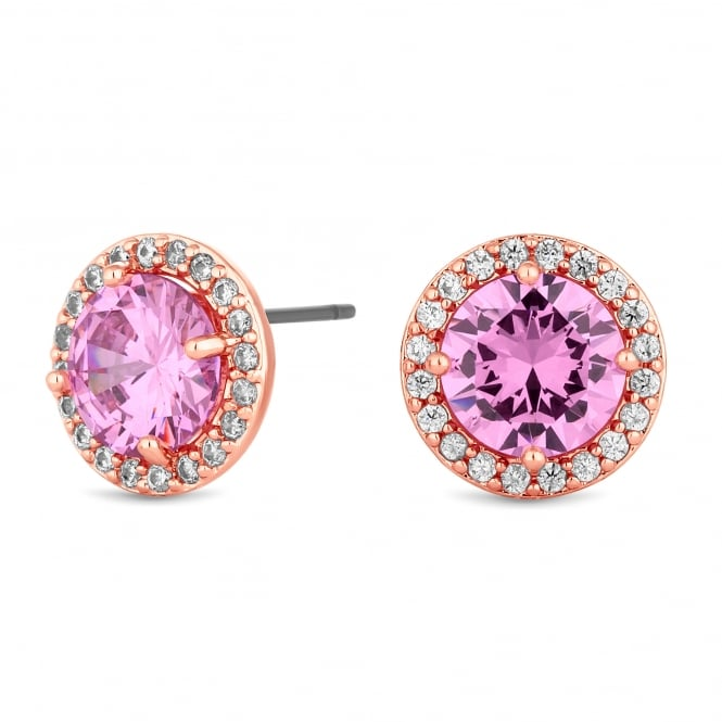 Rose Gold Plated Pink Cubic Zirconia Halo Stud Earring