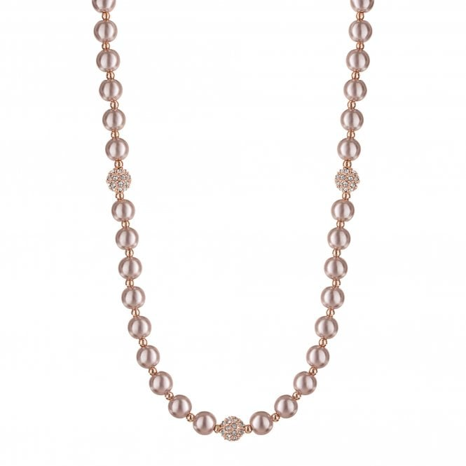 Rose Gold Plated Pink Pearl Necklace