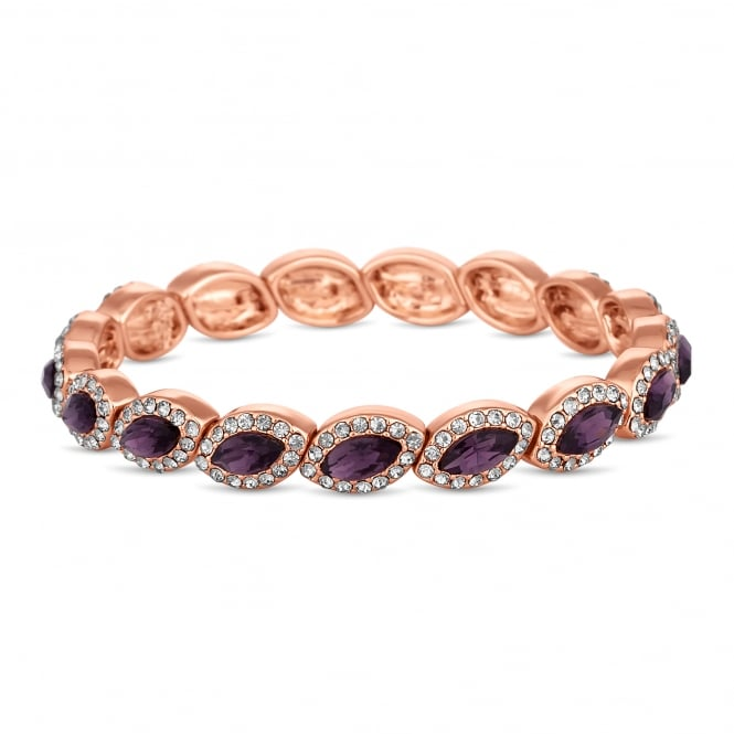 Rose Gold Plated Purple Crystal Navette Stretch Bracelet