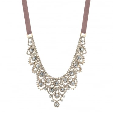 Rose Gold Plated Statement Ornate Diamante Pink Ribbon Necklace