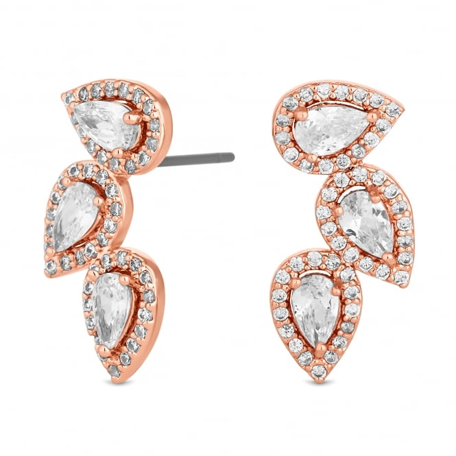 Rose Gold Plated Three Peardrop Cluster Earring